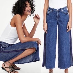 Zara Basic Denim Extra Wide Leg Culottes Jeans